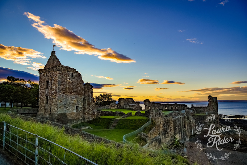 Sunset over St Andrews Castle ruins
